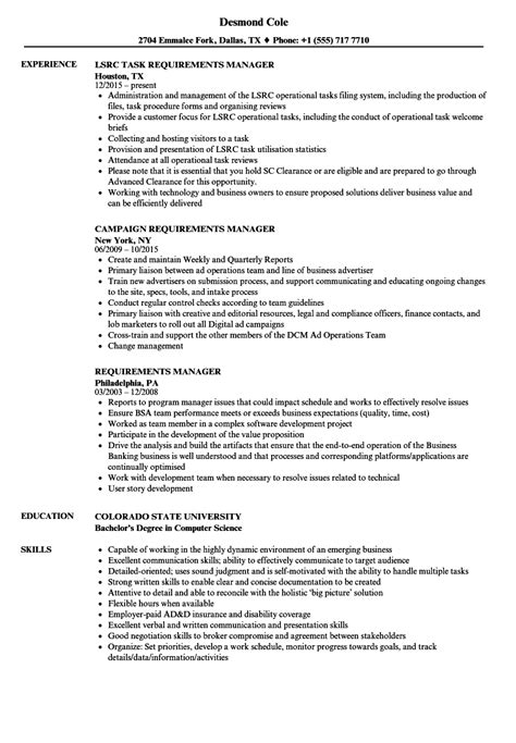 Resume Requirements by Requirements Manager Resume Sles Velvet