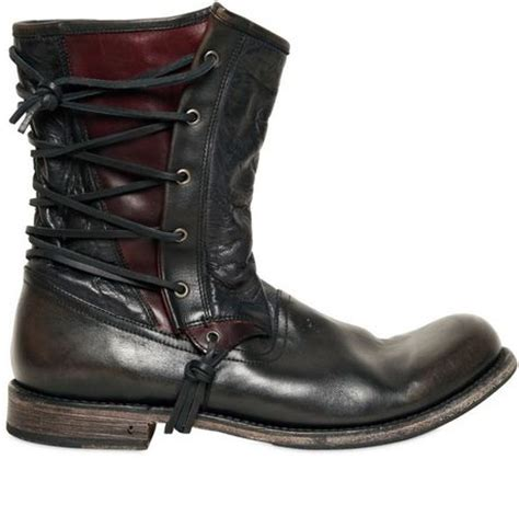 Timberland Herren Stiefel 898 by Varvatos 20mm Lace Up Leather Pirate Boots In Black