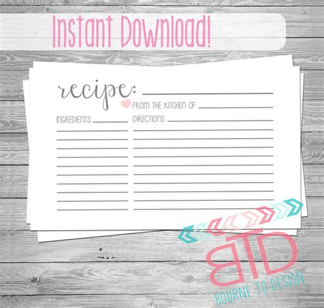 editable recipe card template with hearts 18 printable recipe card free psd vector eps png