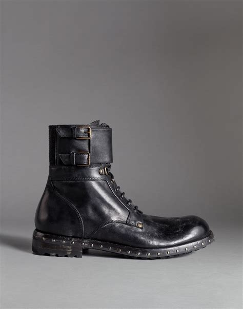 dolce and gabbana boots dolce gabbana mould effect leather san pietro combat