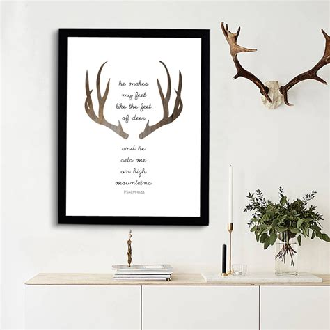 christian home decor wall art deer bible verse print art canvas poste modern christian