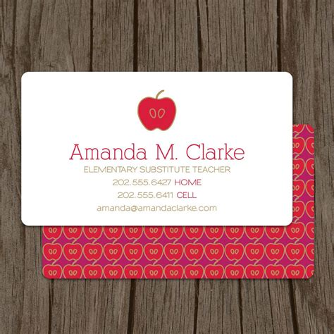 business cards for substitute teachers template modern substitute business card set of 100 48 00
