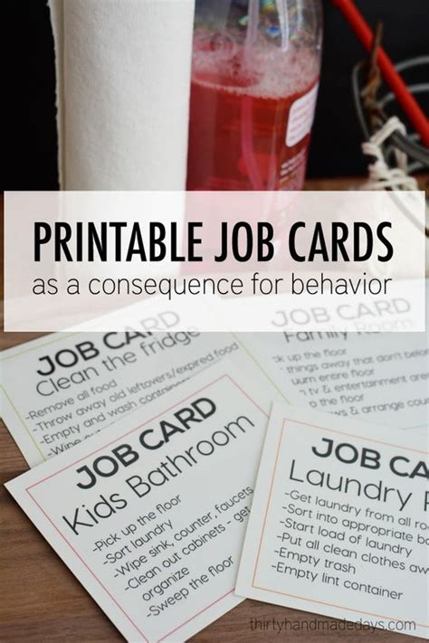 printable job card awesome chore charts that work landeelu com