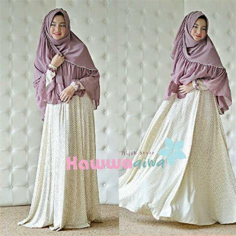 Zerlina By Bungas afia broken white lavender baju muslim gamis modern