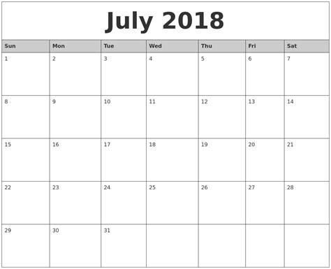 printable july 2018 calendar july 2018 monthly calendar printable
