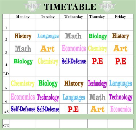 study times tables tmnt high school timetable by azuki chan on deviantart
