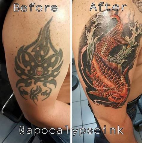cover up tattoo koi tattoo carp tattoo follow me www 16 amazing tattoo cover ups that show there s a cure for