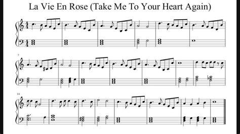 tutorial piano la vie en rose la vie en rose easy piano sheet music no audio youtube