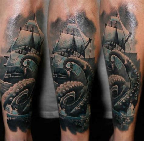 tattoo kraken with a ship at sea ideas tattoo designs