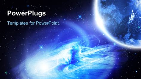 Powerpoint Template Night Vision Of The Planet Earth With Galaxy And Glowing Stars In The Microsoft Powerpoint Templates Space