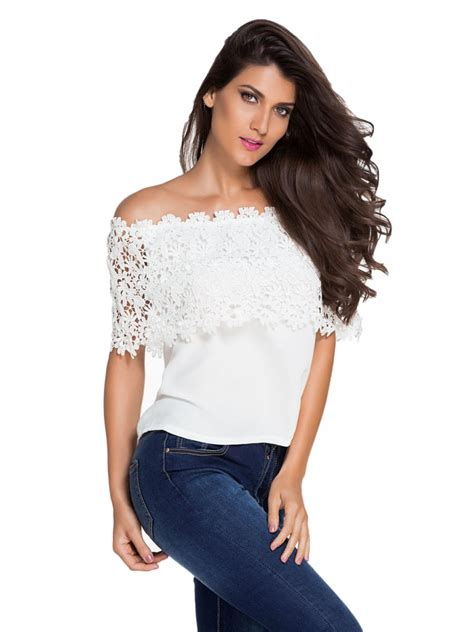 Lace Shoulder Chiffon Top white lace spliced shoulder chiffon top e25684