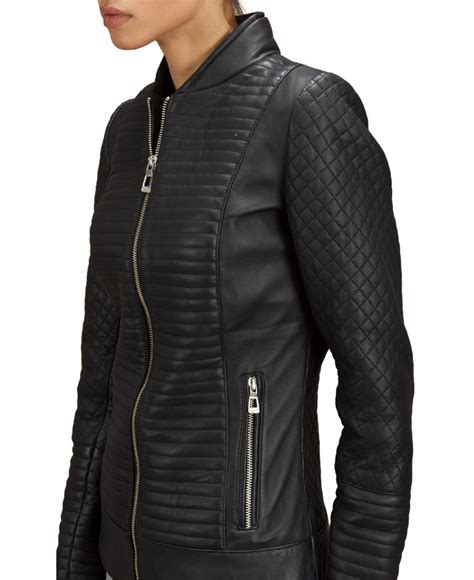 Black Quilted Coats For by Black Quilted Leather Bomber Jacket Jackets Maker
