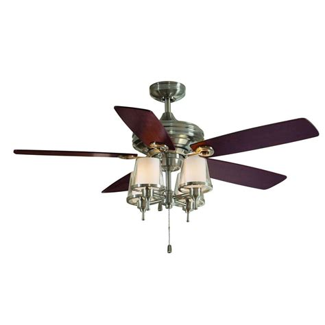 shop allen roth 52 in brushed nickel ceiling fan with