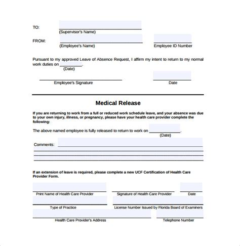 return to work template return to work form 10 free documents