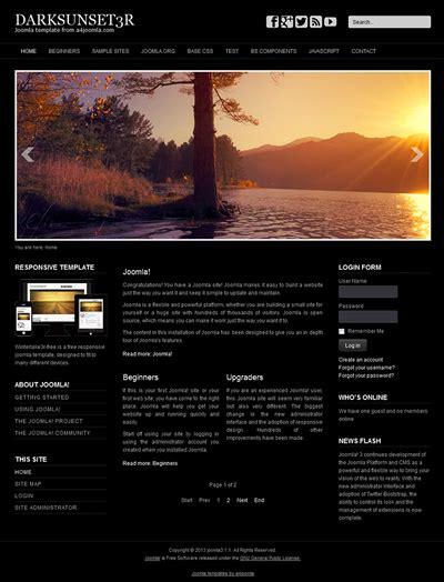 free responsive joomla 3 template responsive free joomla 3 template a4joomla darksunset3r free