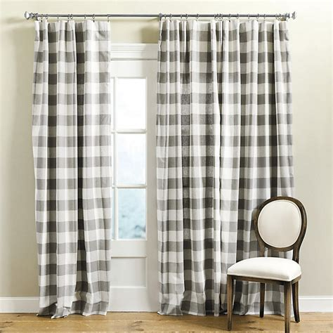gray buffalo check curtains buffalo check drapery panel gray 84 quot contemporary