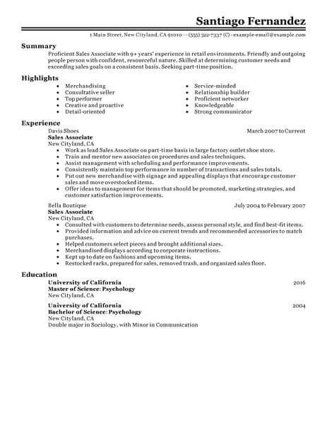 Retail Resume by 11 Amazing Retail Resume Exles Livecareer