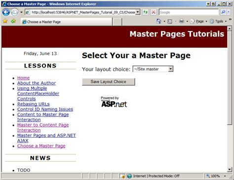 website templates for asp net master pages specifying the master page programmatically c the asp