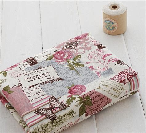 free shipping shabby chic roses butterflies vintage linen fabric cotton patchwork fabric 5