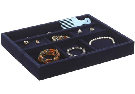 Velvet Jewelry Dividers For Drawers by Blue Velvet Jewelry Organizer 15 Inch In Jewelry Trays