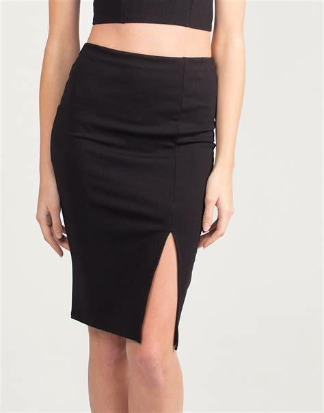 Side Slit Pencil Skirt side slit con pencil skirt black 2020ave