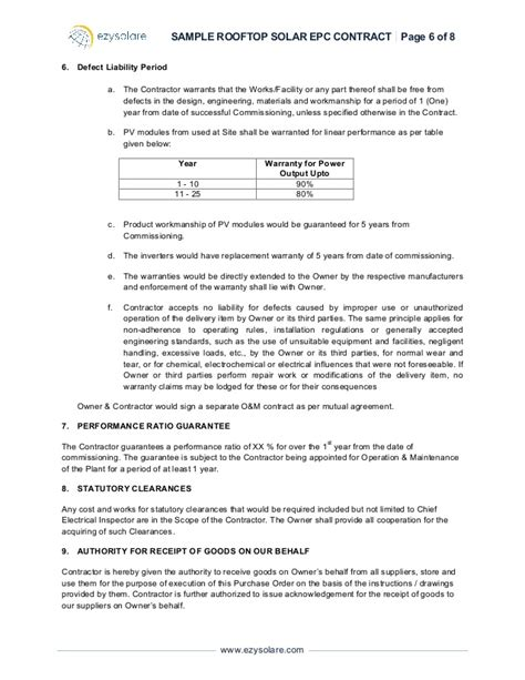 Sle Rooftop Solar Epc Contract Ezysolare Epc Agreement Template