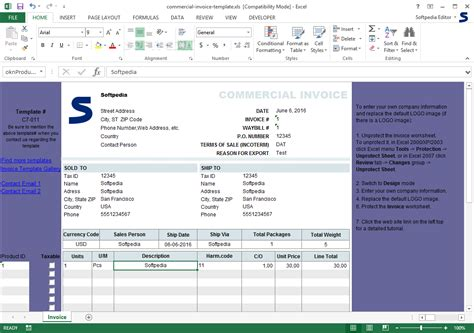 Download Commercial Invoice Template 1 20 Windows Invoice Template Downloads