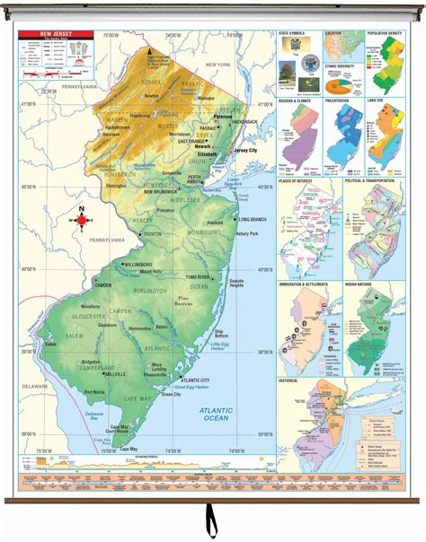 new jersey state colors new jersey state intermediate thematic wall map on roller