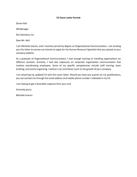 Exles Of A Cv Cover Letter by Cover Letter For Cv Curriculum Vitae