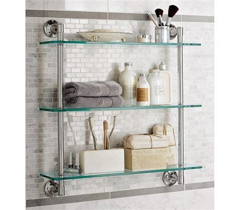 Mercer Triple Glass Shelf Pottery Barn Glass Shelves For Bathroom Wall