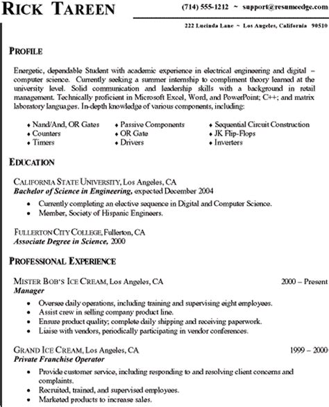internship resume sles for computer science sle resume computer science engineering student sle