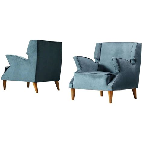 Armchairs Upholstered by Pair Of Blue Upholstered Italian Armchairs For Sale At 1stdibs