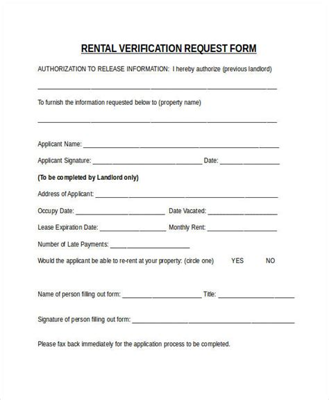 blank rental verification form verification forms in word