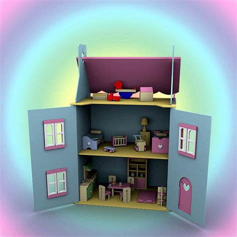 doll house setting doll house set 01 3d model hum3d