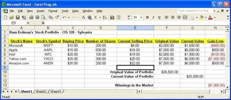 Stocks Spreadsheet by Best Photos Of Exle Of Stock Portfolio Exle Stock