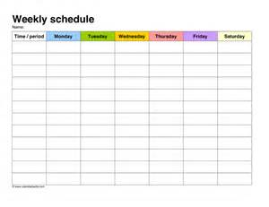 weekly schedule sample in word and pdf formats
