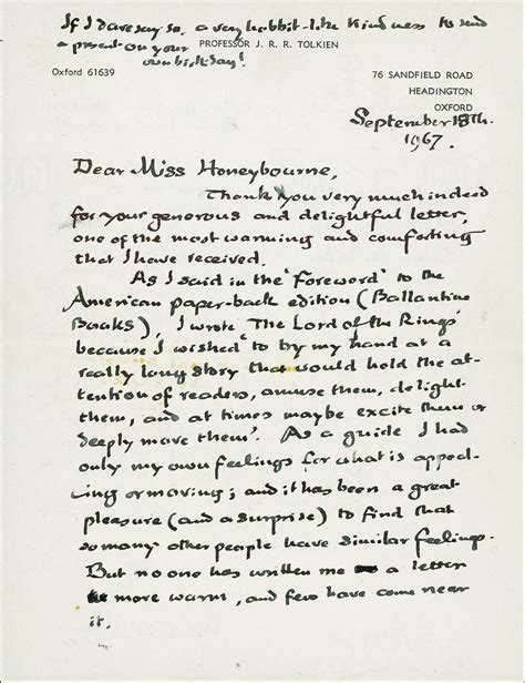 Letter Hobbit Why Did Tolkien Write The Lord Of The Rings Jason Goroncy