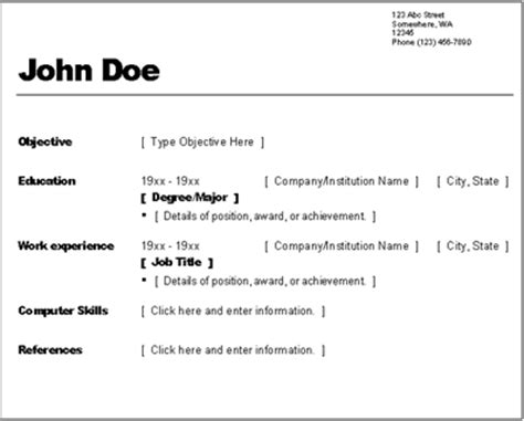 resume samples simple resume template free download