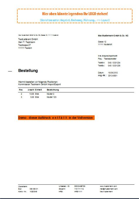 Angebot Bestellung Muster Bestellung 187 World Of Rechnungsprofi