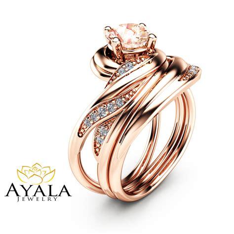 unique design morganite wedding ring set in 14k gold