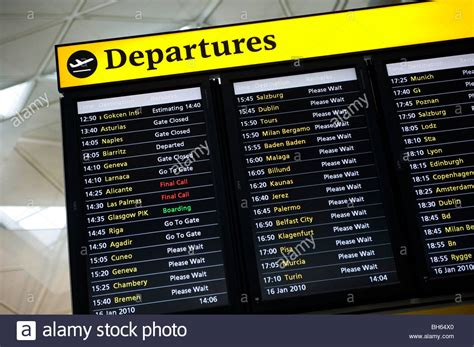 uk airport arrivals and departures information websites flight departure board at stansted airport england stock