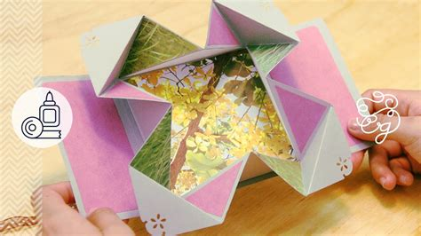 Origami Scrapbook - tarjeta fold out expandible scrap origami regalo