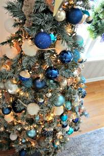 decorations of blue on white christmas tree southern state of mind