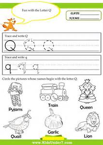 q worksheets for kindergarten recognise and