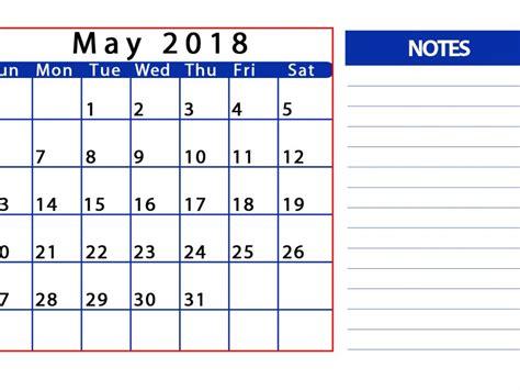 Calendar Notes May 2018 Calendar With Notes Printable Printable