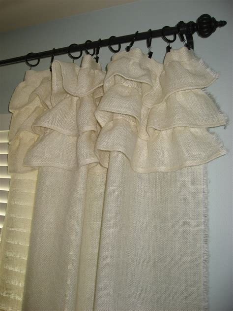 burlap ruffled curtains cream burlap ruffled curtain guest bedroom pinterest