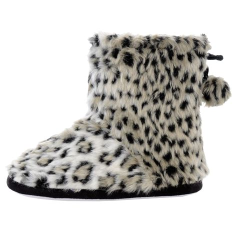snow leopard slippers womens faux fur snow leopard animal print lined bootie