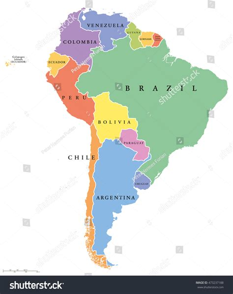 south america map with country names south america single states political map stock vector