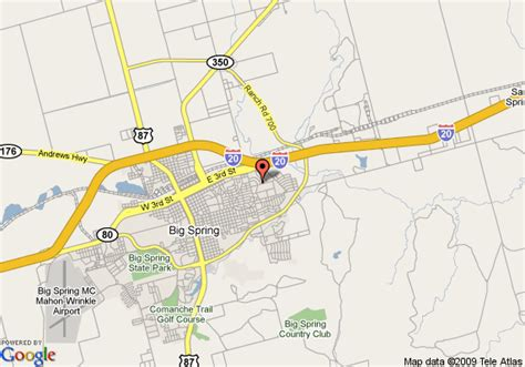 big springs texas map map of quality inn big big