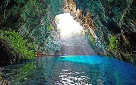 breathtaking blue grottoes  sea caves  greece